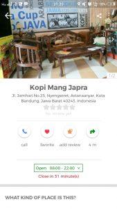 tempat ngopi murah di Bandung, Kedai Kopi Mang Japra di Cari Aja