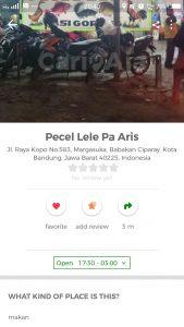 pecel lele paling enak di Bandung, Pecel Lele Pak Aries di Cari Aja