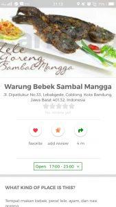 pecel lele paling enak di Bandung, Warung Bebek Sambal Mangga di Cari Aja