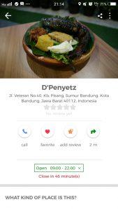 pecel lele paling enak di Bandung, D'Penyetz Bandung di Cari Aja